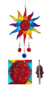 Sun Catcher~ Hippy Bohemian Rainbow Resin Sun with Beads Sun Catcher~ By Folio Gothic Hippy LC32
